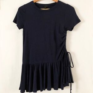 NWOT J Crew ruffle hem drawstring side t shirt top